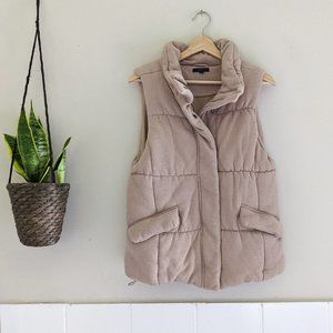 Gap Tan Sleeveless Quilted Puffer Vest w/ Pockets
